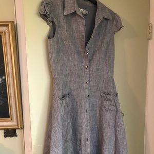 Nine West Grey Linen Fit and Flair Dress Size 6
